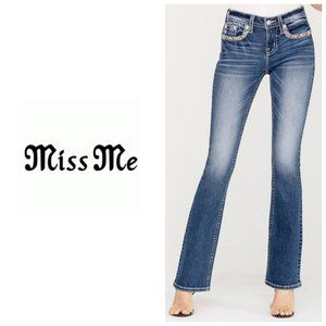 MISS ME Mid Rise Boot Cut Distressed Blue Jeans